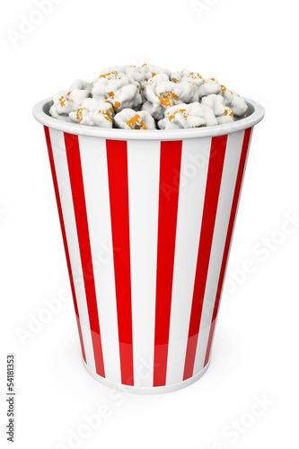 Popcorn in red and white backet