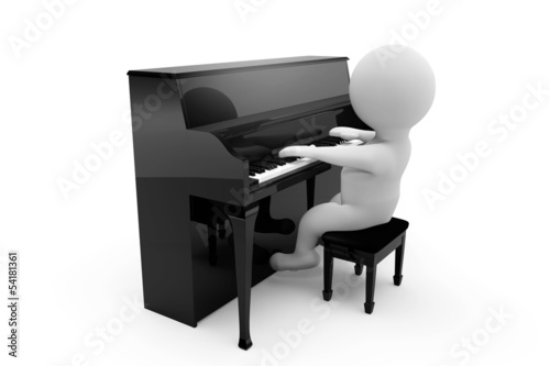 3D person playing piano
