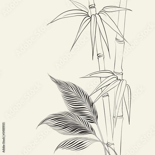 Palm tree over bamboo forest. © Kotkoa