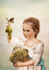 The little girl with a basket of grapes in the hands