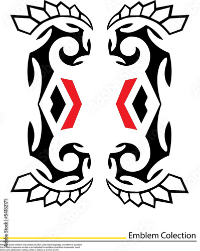 Native american black and red icons,tattoo