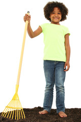 Beautiful Black Girl Child with Rake Standing in Dirt