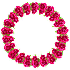 Circle frame of pink flowers