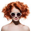 Fashion Woman With Sunglasses. Isolated