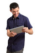 Young adult happy with tablet