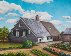 Painting of an old dutch farm