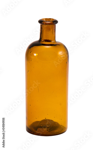 old yellow glass empty bottle isolated on white