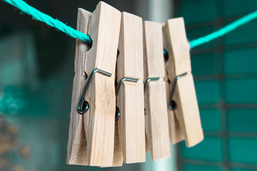 wooded clothespins
