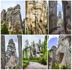 Adrspach sandstone rock formations collage