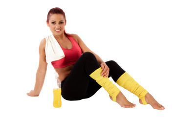 beautiful healthy woman resting after exercise gym