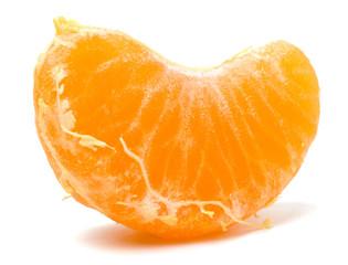 peeled mandarin segment isolated on white background