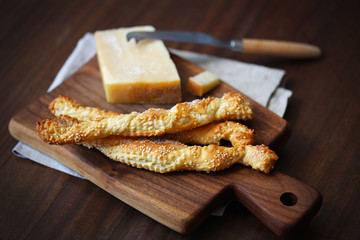 Bread sticks, twisted grissini puff pastry with parmesan cheese
