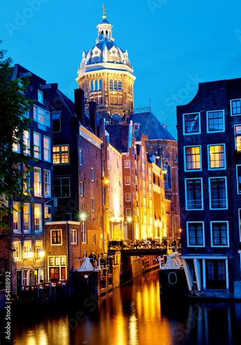 Amsterdam, Netherlands: St. Niklaas Church and Canals.