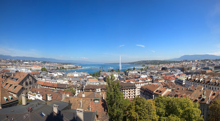 A Panoramic View of Geneva City and Lake Leman