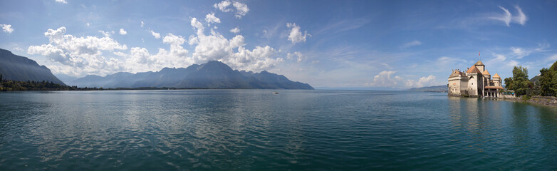 The panorama view of Chillon Castle and Lake Geneva in Switzerla