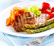Grilled Beef Steak Meat with Fried Potato, Asparagus, Tomatoes