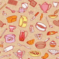 Kitchen And Cooking Seamless Pattern Vector