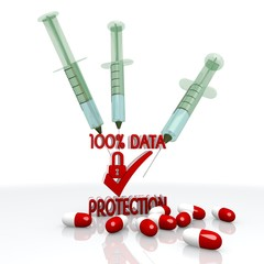 3d render of a medical data protection symbol with injection