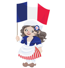 cute cartoon girl in sans culottes costume