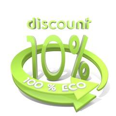 3d render of a -10 discount sign  a 100 percent eco