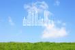 草原とビル群の雲