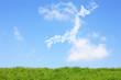 草原と日本地図の雲