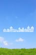 草原と家の雲
