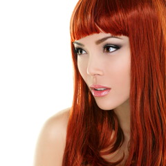 Beauty woman portrait with red hair