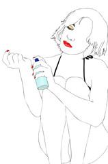 Giovane donna con il profumo