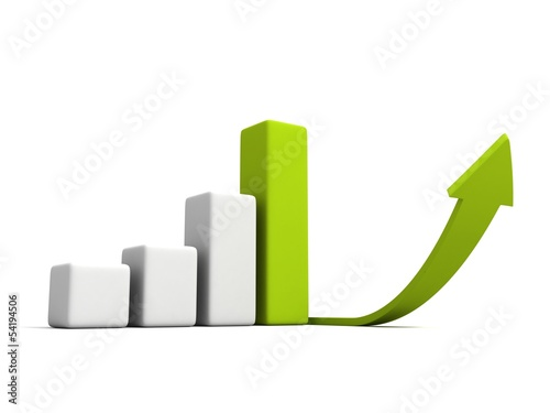 Business Successful Growth Bar Diagram with Green Arrow