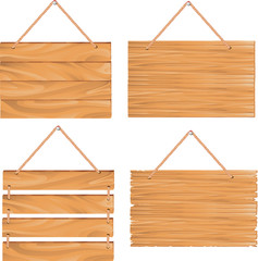 signboards hanging on rope, isolated on white