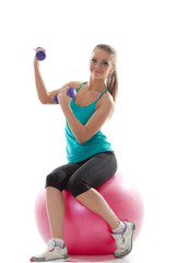 Attractive model posing with sports equipment