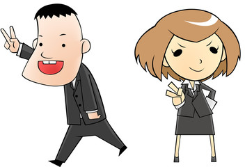 business people in cartoon version
