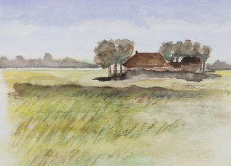 Oil painting of a single house