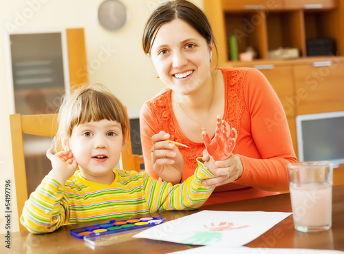 Happy mother and her child painting  with handprinting
