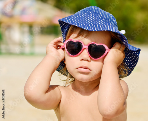 fashion toddler on the beach
