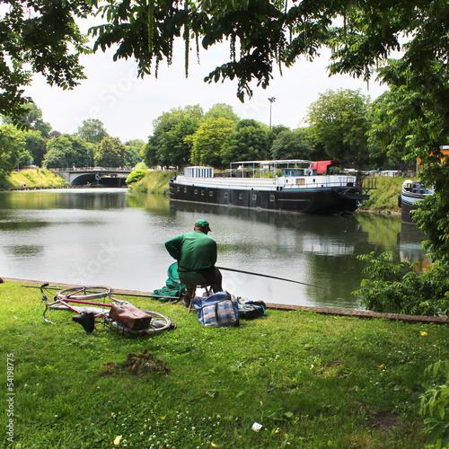 Papiers peints Riviere Lille (Nord) - Pêche le long de la Deule