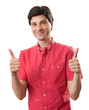 casual happy man with thumbs up sign isolated on white backgroun