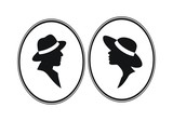 Lady and Gentleman- male female gender vector symbols