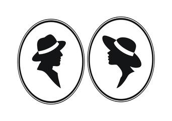 Lady and Gentleman- male female gender vector symbols