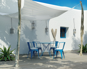 Contemporary Greek luxury outdoor summer lounge canopy