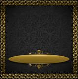 Luxury Floral Black and Gold Velvet Background