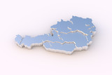 Austria map metal with states stepwise and clipping path