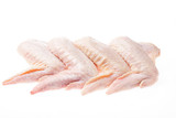 raw chicken wings on white background isolated