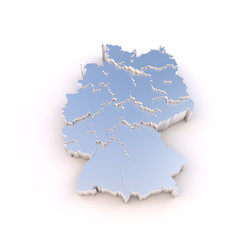 Germany map metal with states stepwise and clipping path