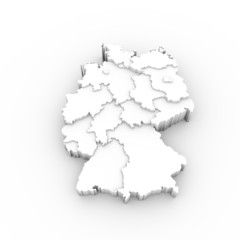 Germany map white with states stepwise and clipping path