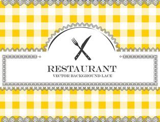 cutlery blackboard lace menu restaurant ,cloth pattern vector