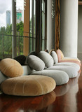 Cushion seat in quiet interior room for meditation