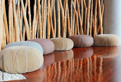 Leinwanddruck Bild Cushion seat in quiet interior room for meditation