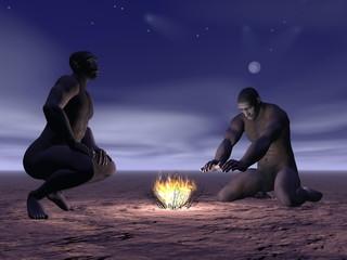 Homo erectus and fire - 3D render